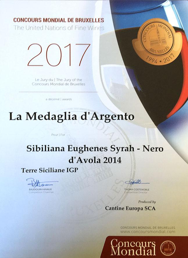 Concours Mondial de Bruxelles Auszeichnung: Sibiliana Eughenès Syrah + Nero D'Avola